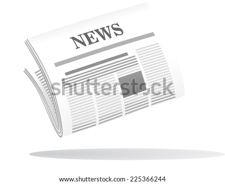 Cartoon icon of a folded newspaper with the header News in grey and white with a shadow below - stock photo