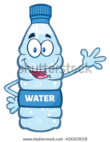 Cartoon Illustation Of A Water Plastic Bottle Mascot Character Waving Waving For Greeting. Raster Illustration Isolated On White Background - stock photo