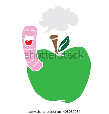 cartoon illustration apple with worm with speech bubble  - stock photo