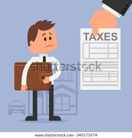 Cartoon illustration for financial management and taxes concept. Unhappy man with wallet got tax invoice. Flat design. - stock photo