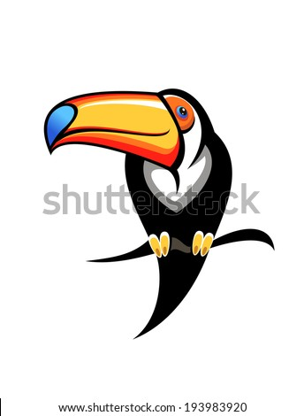Cartoon illustration for kids of a colourful toucan with a big orange and blue bill perched on a branch, design element on white. Vector version also available in gallery - stock photo