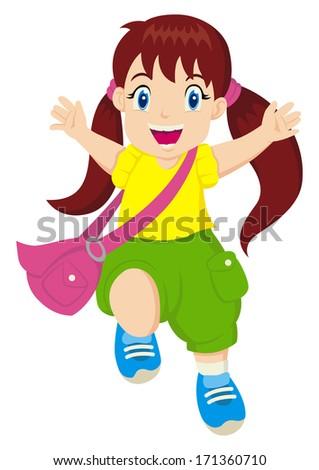 Cartoon illustration of a cheerful little girl - stock photo