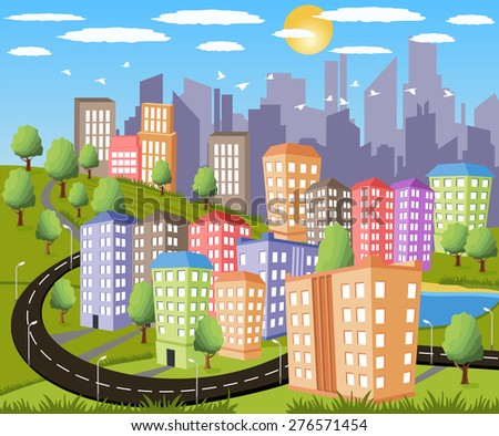 Cartoon illustration of a colorful modern city - stock photo