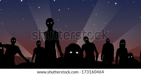 Cartoon Illustration of a crowd of Zombies with glowing eyes.  - stock photo