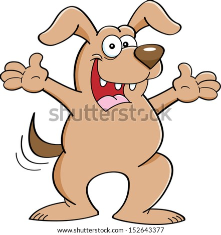 Cartoon illustration of a dog with both arms extended.