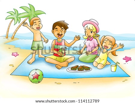 Cartoon Illustration Family Having Picnic Beach Stock ...