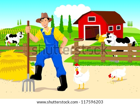 Cartoon illustration of a farmer at his barn