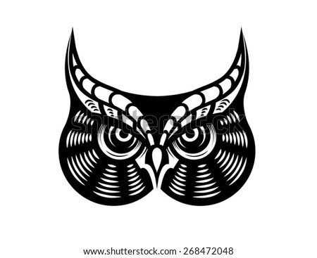 Cartoon  illustration of a fierce looking horned owl - stock photo