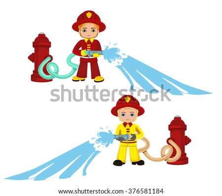 Cartoon illustration of a firefighter boy.Raster copy.
