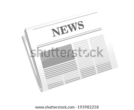 cartoon illustration of a folded newspaper with the header News isolated on white. Vector version also available in gallery