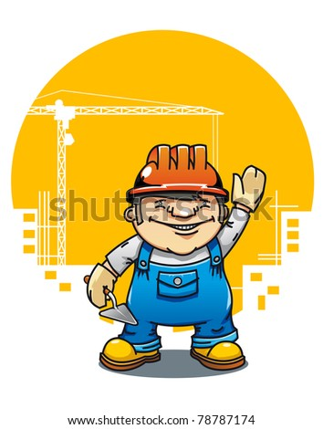 Cartoon illustration of a friendly construction worker or bricklayer