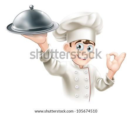 Cartoon illustration of a happy restaurant chef holding a metal food platter - stock photo