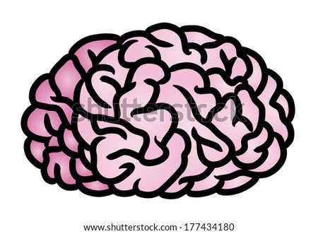 Cartoon illustration of a human brain. Raster. - stock photo