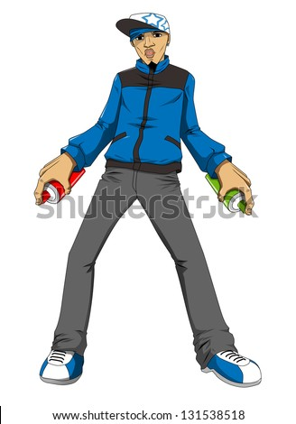 Cartoon illustration of a male figure holding a spray can ready to draw graffiti - stock photo