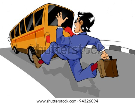 Cartoon illustration of a man chasing a bus