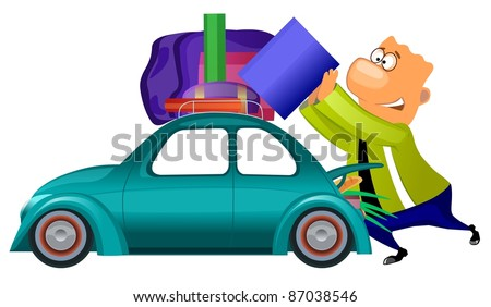 Cartoon illustration of a man preparing to travel by car.
