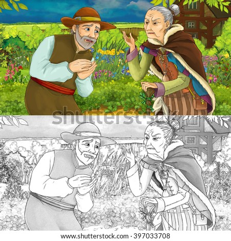 Cartoon illustration of a man talking with an old woman in a herb garden - with additional coloring page - illustration for children - stock photo
