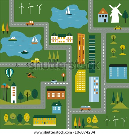 Cartoon illustration of a map of the city. - stock photo