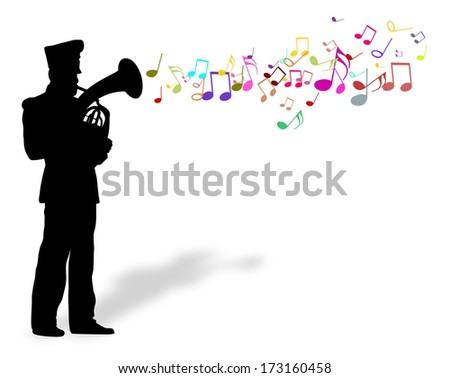 cartoon Illustration of a person playing a brass instrument with musical notes. - stock photo