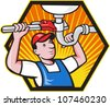 Cartoon illustration of a plumber worker repairman tradesman with adjustable monkey wrench repairing bathroom sink set inside hexagon. - stock photo