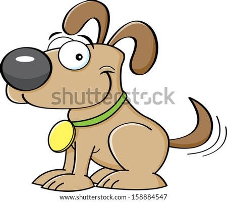 Cartoon illustration of a puppy wagging his tail.
