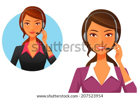cartoon illustration of a smiling customer support operator with headset - stock photo