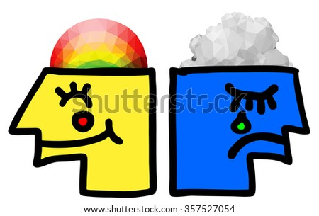 Cartoon illustration of a smiling head with rainbow brain and a sad blue face head with dark clouds brain for the concept of bipolar disorder.