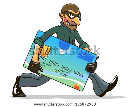 Cartoon illustration of a wicked hacker thief in a mask stealing a bank credit card and running away with it under his arm with an evil grin. Vector version also available in gallery - stock photo