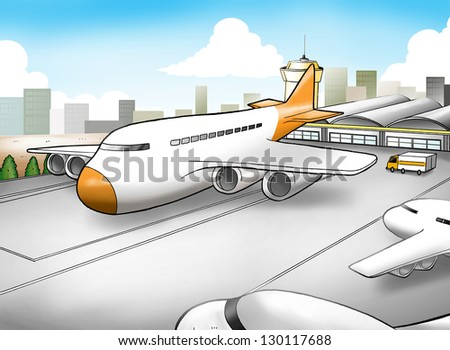 Cartoon illustration of an airport - stock photo
