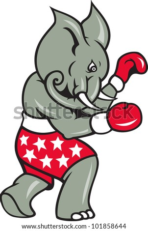 Cartoon illustration of an elephant boxer with boxing gloves and stars shorts as republican mascot. - stock photo
