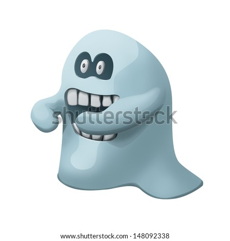 cartoon illustration of  angry ghost