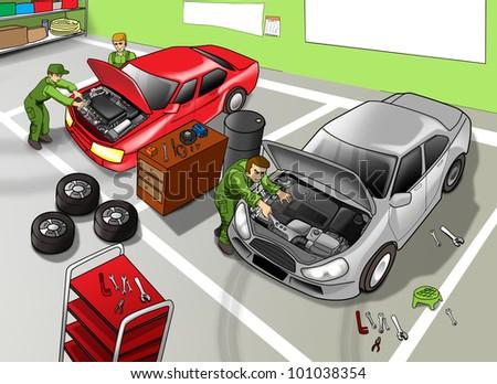 Cartoon illustration of automobile repair shop - stock photo