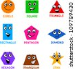 Cartoon Illustration of Basic Geometric Shapes Comic Characters with Captions for Children Education - stock photo