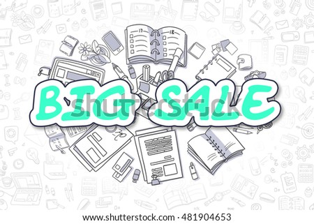 Cartoon Illustration of Big Sale, Surrounded by Stationery. Business Concept for Web Banners, Printed Materials.