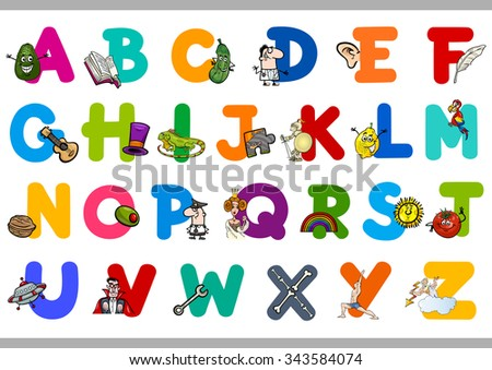 Cartoon Illustration of Capital Letters Alphabet Educational Set for Preschool Children