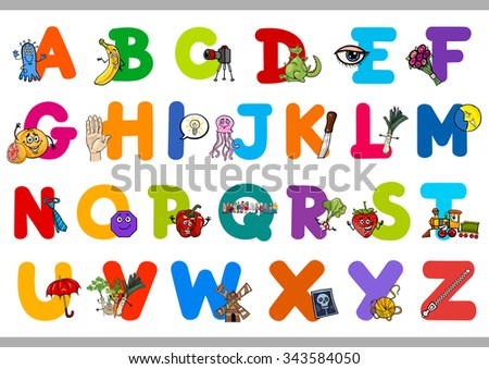 Cartoon Illustration of Capital Letters Alphabet Set with Objects for Preschool Children Education