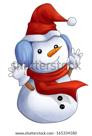 Cartoon illustration of character for Christmas, snowman