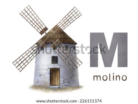 Cartoon Illustration of Colorful Spanish Alphabet or Alfabeto Espanol. Isolated on white. Letter M, molino, windmill - stock photo