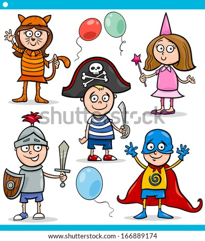 Cartoon Illustration of Cute Children in Fancy Ball Costumes Characters Set - stock photo