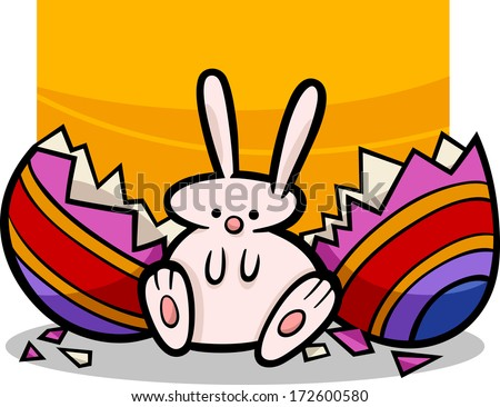 Cartoon Illustration of Cute Easter Bunny which Hatched from Paschal Egg