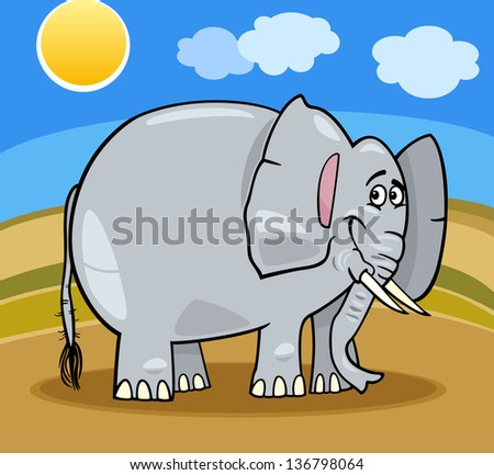 Cartoon Illustration of Cute Gray African Elephant