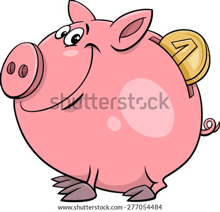 Cartoon Illustration of Cute Piggy Bank with Gold Coin - stock photo
