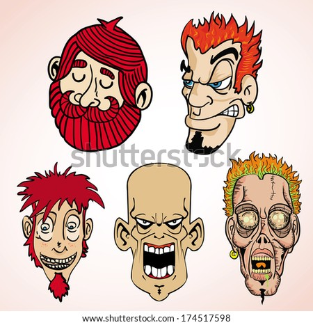 cartoon illustration of 5 different faces
