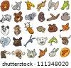 Cartoon Illustration of Different Funny Wild Animals Heads Huge Set - stock vector
