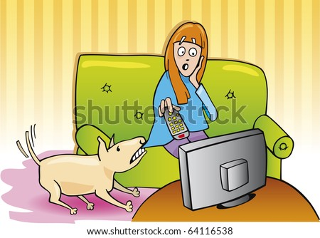Cartoon illustration of dog wants to go for a walk and girl watching television