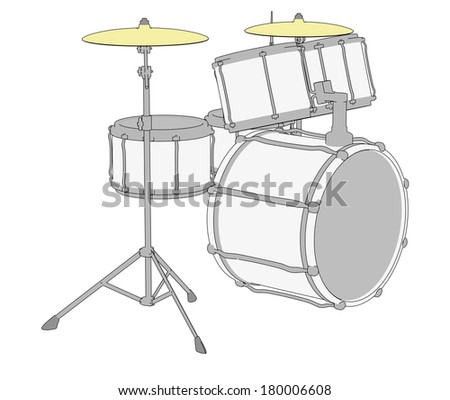 cartoon illustration of drum set - stock photo