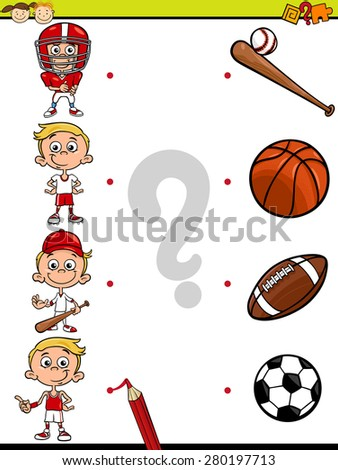 Cartoon Illustration Education Element Matching Game Stock ...