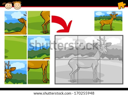 Cartoon Illustration of Education Jigsaw Puzzle Game for Preschool Children with Funny Deer Animal