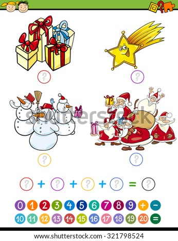Cartoon Illustration of Education Mathematical Addition Task for Preschool Children with Christmas Characters - stock photo