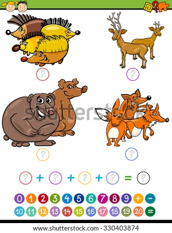 Cartoon Illustration of Education Mathematical Addition Task for Preschool Children with Forest Animals - stock photo